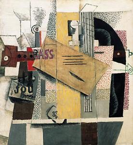 Bottiglia di Bass, clarinetto, chitarra, violino, giornale, asso di fiori - Pablo Picasso (1914, Centre Pompidou, Parigi)