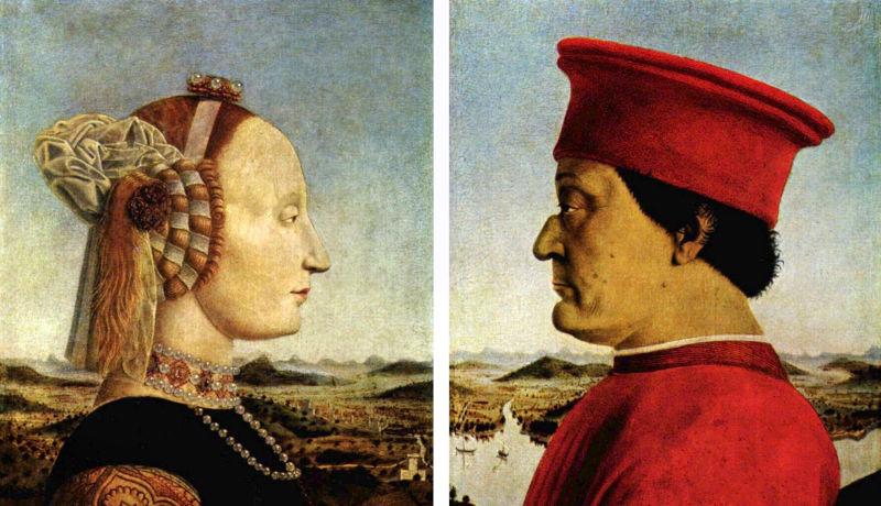 Piero della Francesca, doppio ritratto dei DuchidiUrbino, 1465-72 ca.