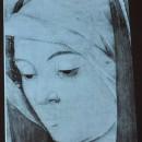 5 - Giovanni Bellini, Madonna con il Bambino particolare del volto dove si vede lo spolvero.