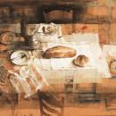 Grande tavolo, 1997, tecnica mista su carta su tela, cm 160 x 200