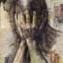 Mani sul volto, 2007, china e collage su carta, cm 70 x 50