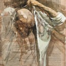 Uomo (IV), 2010, tempera su carta su tela, cm 60 x 50