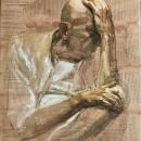Uomo (VI), 2010, tempera su carta su tela, cm 60 x 50