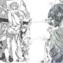 Athena guarda pensierosa l'acquaforte Centauri Simonidei di Gianni Brusamolino - raccolta: Nel segno l'Eros, Milano, 2012
