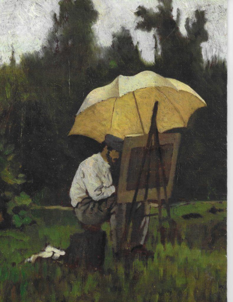 Egisto Lancerotto, Guglielmo Ciardi al lavoro, olio su tela, 1870 circa